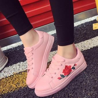 Korean Fashion Sneakers With Embroidered Flower and Lace - Pink