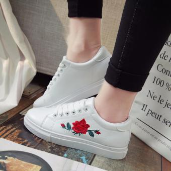 Korean Fashion Sneakers With Embroidered Flower and Lace - White