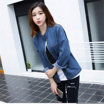 Korean Fashion Women Basic Coats Autumn Spring Women Denim JacketNew Long Sleeve Slim Female Jeans Coat Casual Womens Outwear - intl - 5