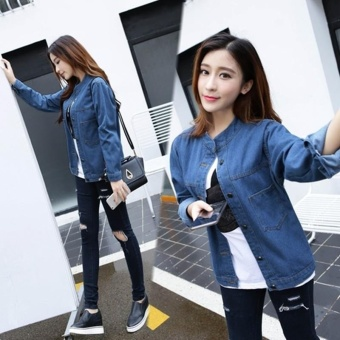 Korean Fashion Women Basic Coats Autumn Spring Women Denim JacketNew Long Sleeve Slim Female Jeans Coat Casual Womens Outwear - intl