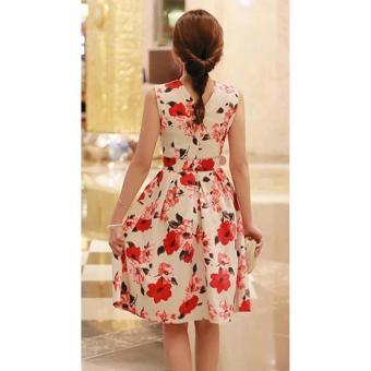 Korean Gissele Floral Cotton Midi Dress w/ Belt (Red) - 3