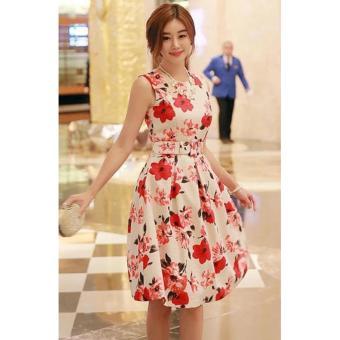 Korean Gissele Floral Cotton Midi Dress w/ Belt (Red) - 2