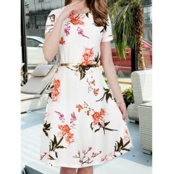 Korean Kinsley Crepe Floral A-Line Midi Dress with Belt (White)