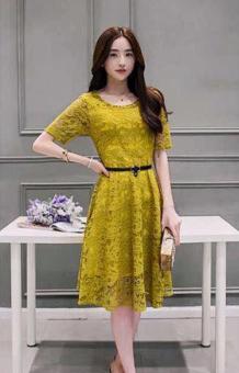 Korean Lace Midi Dress Mustard Yellow