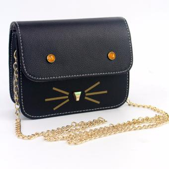 Korean Leather Satchel Sling Bag Black Cat Face Stud Chain StrapKorean Fashion Messenger Bag Body Bag