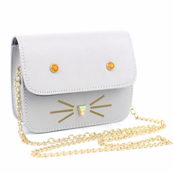 Korean Leather Satchel Sling Bag Gray Cat Face Stud Chain StrapKorean Fashion Messenger Bag Body Bag