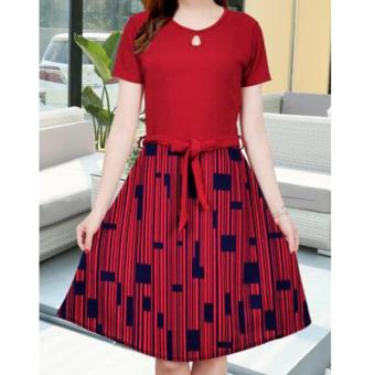 Korean Lucy Crepe A-Line Midi Dress with Belt (Maroon)