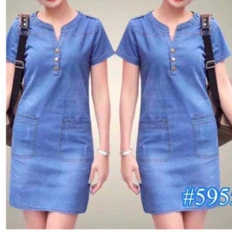 Korean Maong Dress soft denim style fit up to Large frame