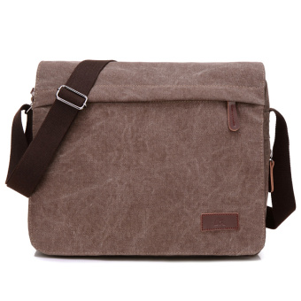 Korean men cross-body canvas bag casual men's bag (Brown)