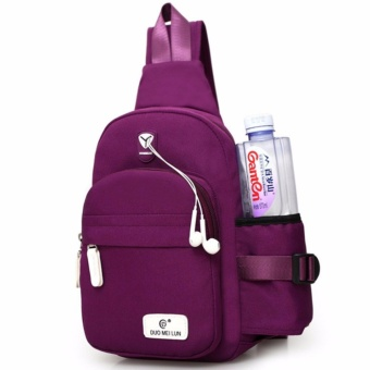 Korean Men Women Chest Sling Shoulder Backpack Chest Pack Canvas Backpack Outdoor Crossbody Ride Luggage Waterproof Bag TRAVEL KETTLE Bag(Purple) - intl