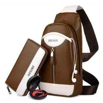 Korean Mens Chest Bag Leather Crossbody Messenger Bag ShoulderChest Crossbody Sling Bag for Men (Brown)(OVERSEAS) - intl