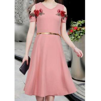 Korean Meryle Crepe Embroidered Cold Shoulder A-Line Midi Dress with Belt (OldRose)