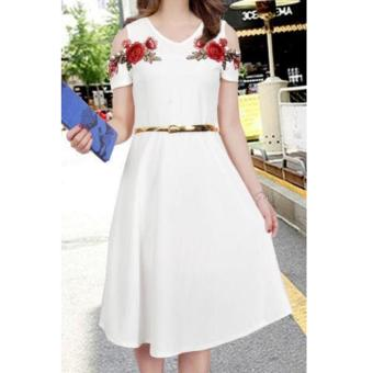 Korean Meryle Crepe Embroidered Cold Shoulder A-Line Midi Dress with Belt (White)