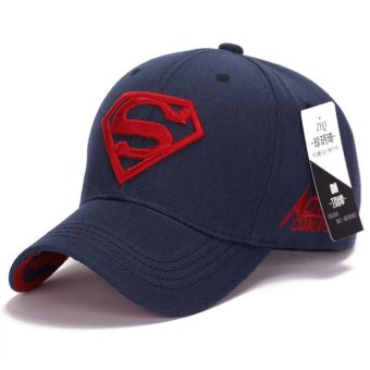 Korean new sun hat male ladies couple Superman baseball cap fashion golf hat(Blue-red) - intl