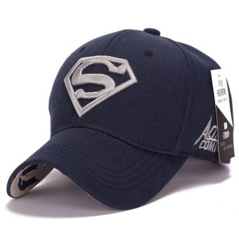 Korean new sun hat male ladies couple Superman baseball cap fashiongolf hat(Blue-sliver) - intl