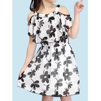 Korean Nikki Floral Chiffon Off Shoulder Dress (Black/White) Price Philippines