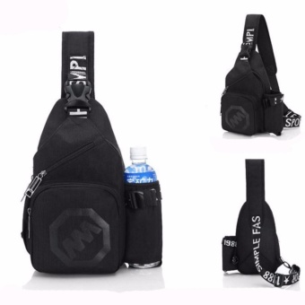 Korean Sling Bag Chest Shoulder Unbalance Gym Fanny Backpack Sack Satchel Outdoor Bike Cycling Hiking Camping Travel and Men Women(Black) - intl