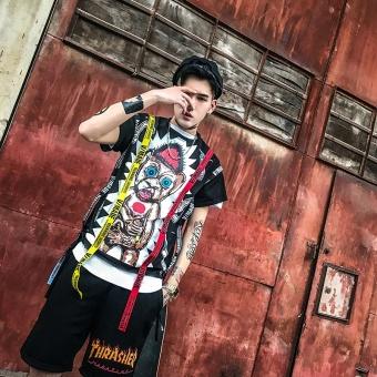 Korean Street BF Wind, Half Sleeve Man Gd, Quan Zhilong Same ShortSleeved T-shirt, Personality Trend Coat, Hip-hop Loose Tee - intl - 4