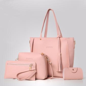 Korean style 4 in 1 Jingpin PU Leather Shoulder Bag Set (Pink)