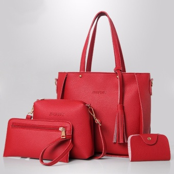 Korean style 4 in 1 Jingpin PU Leather Shoulder Bag Set (Red)