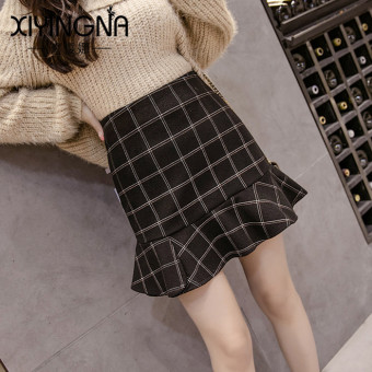 Korean-style autumn and winter New style high-waisted female skirt woolen dress (Black)