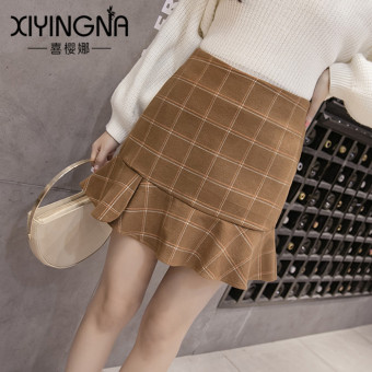 Korean-style autumn and winter New style high-waisted female skirt woolen dress (Camel)