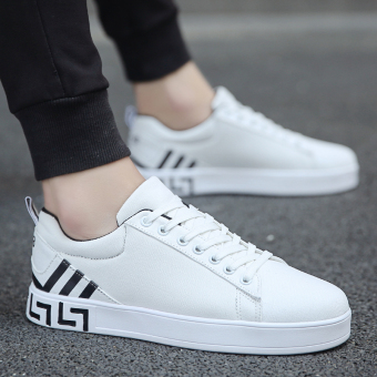 Korean-style autumn casual shoes men shoes (White and black)