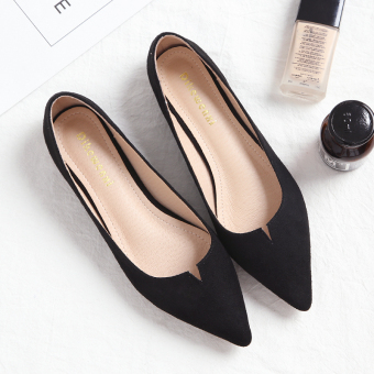 Korean-style autumn New style pointed shoes flat shoes (Black)