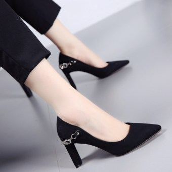 Korean-style autumn New style pointed thick with high-heeled shoes (Black)