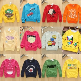 Korean-style autumn New style round neck children's hoodie (6 pieces General hair two, models color) (6 pieces General hair two, models color)