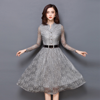 Korean-style autumn New style Slim fit bottoming dress hollow dress (Gray)