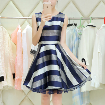 Korean-style autumn New style temperament put on a large dress (Three-color striped)