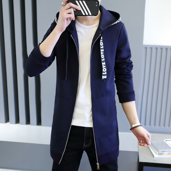 Korean-style autumn Slim fit student thin jacket men's jacket (Dark blue color)