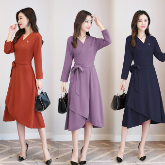 Korean-style autumn Slim fit temperament bottoming skirt dress (Dark blue color)