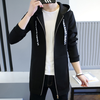 Korean-style autumn thin section New style men's coat jacket (Black)