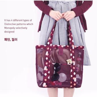 Korean Style B-001 Coating Mesh Multi - functional Clothing Cosmetics Package Shopping Bag Beach Tote Bag (Blue) - 5