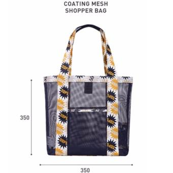 Korean Style B-001 Coating Mesh Multi - functional Clothing Cosmetics Package Shopping Bag Beach Tote Bag (Blue) - 2