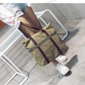 Korean Style B-003 High Quality Canvas Fashion Grid Women LargeCapacity Shopping Tote Bag Student Shoulder Bag(Black) - 5