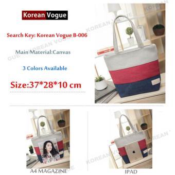 Image Detail Korean Style B-006 Canvas Fashion Striped Women Large Capacity Shopping Tote Bag Student Shoulder Bag (Black/Blue) Full