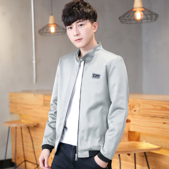 Korean-style baseball clothes thin section collar Top spring and autumn jacket (Gray)