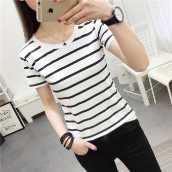 Korean-style black and white Slim fit slimming T-shirt (9255 * white) (9255 * white)