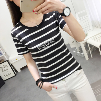 Korean-style black and white Slim fit slimming T-shirt (9266 * Black) (9266 * Black)