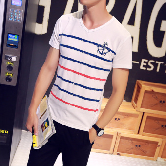 Korean-style black and white student Slim fit striped shirt men's round neck short sleeved t-shirt (Sailor short sleeved) (Sailor short sleeved)