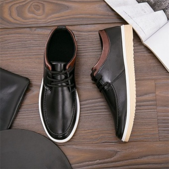 Korean-style black breathable Board shoes leather shoes (A29 black)