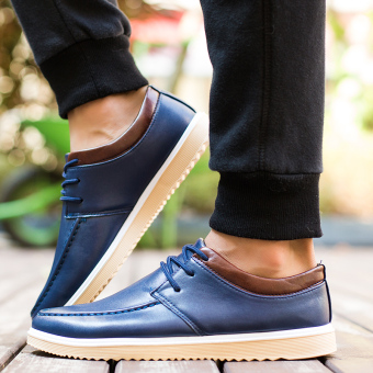 Korean-style black breathable Board shoes leather shoes (A29 blue)
