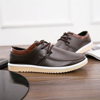 Korean-style black breathable Board shoes leather shoes (A29 Brown)