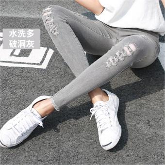 Korean-style black female outerwear long pants leggings (Rich satin gray multi-with Holes)