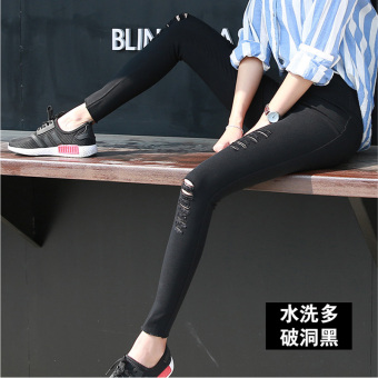 Korean-style black female outerwear long pants leggings (Washed black multi-with Holes)