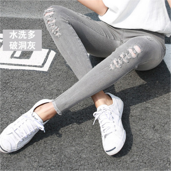 Korean-style black female outerwear long pants leggings (Washed gray multi-with Holes)