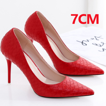 Korean-style black female thin heeled shoes red pointed high-heeled shoes (7CM red color)